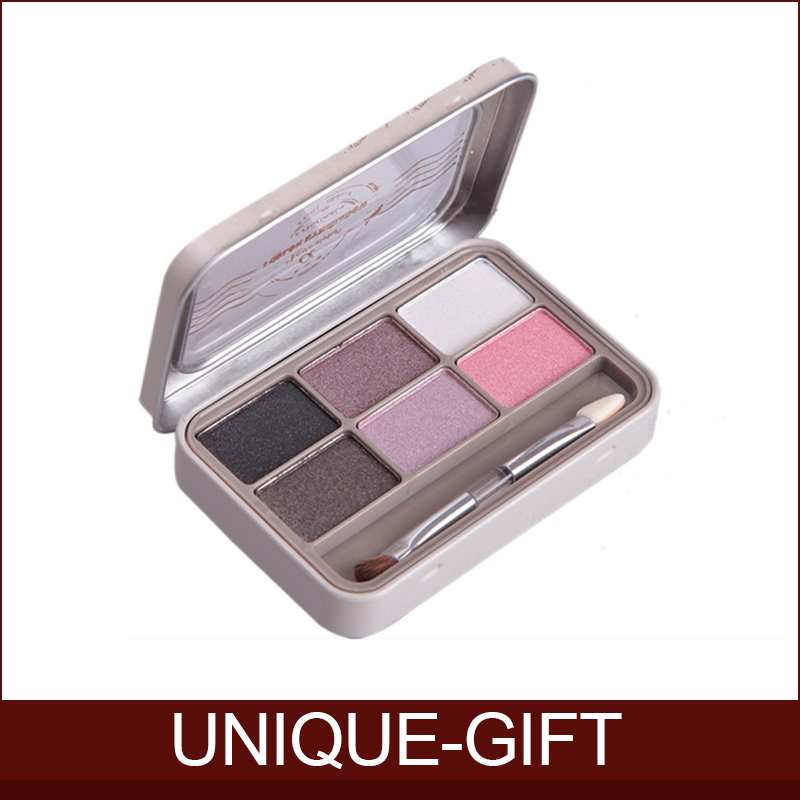 2015 New 6 Colors Eyeshadow Professional Palette Make up with Beauty Iron Box Double Brush Brand mc Makeup Free Shipping Nake(China (Mainland))