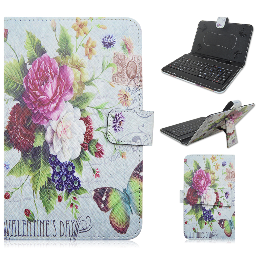 3706 PU Leather Material Stand Case with Micro USB Interface Keyboard for 7-8 inch Tablet PC(China (Mainland))