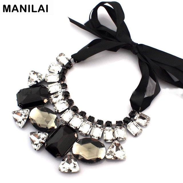 MANILAI Classic Collar Statement Necklace For Women Fashion Big Black Mix Clear Acrylic Gem and Ribbon Choker Jewelry C68082