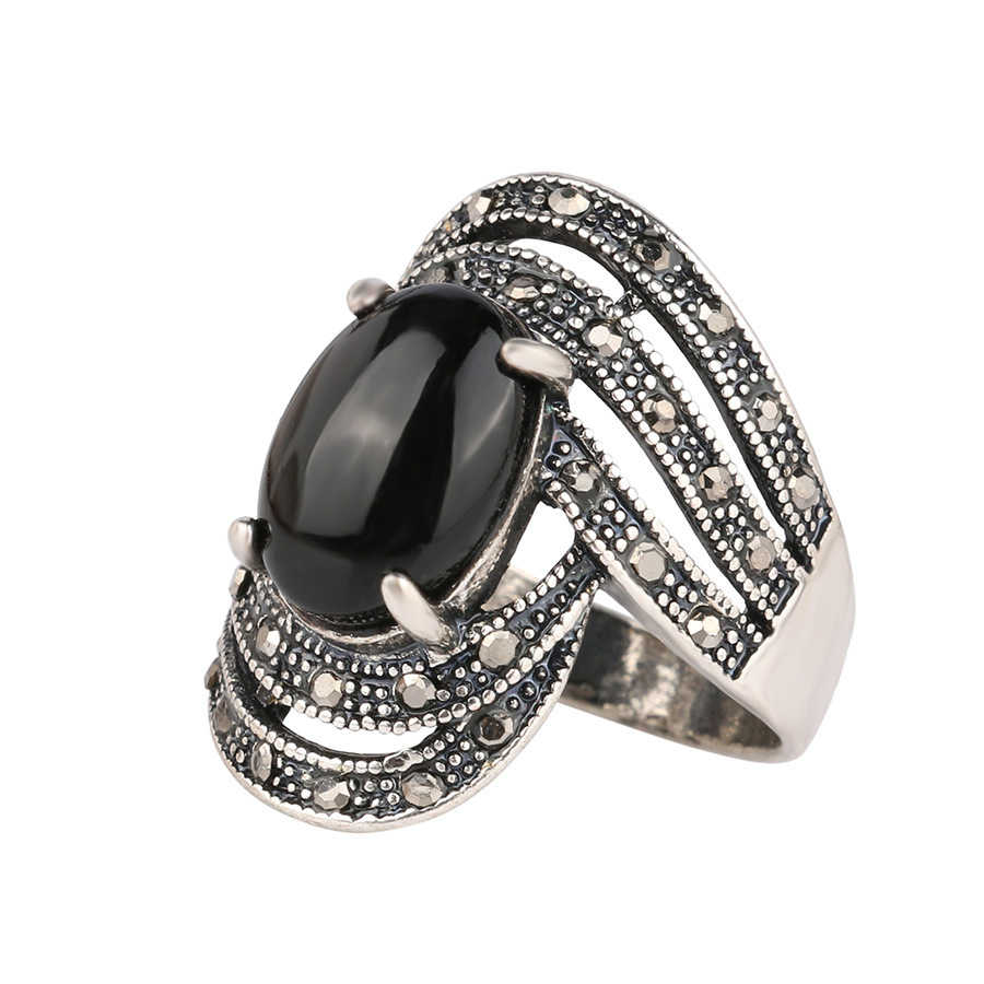 New Angel Wings Crystal Rings Oval Cut Amethyst Silver Tibet Antique Vintage Fashion Black Resin