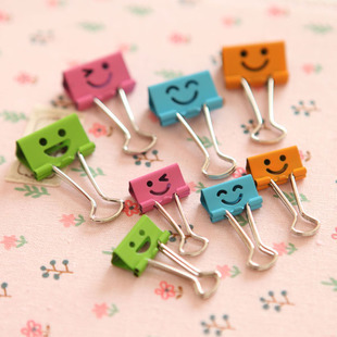 40 pcs/lot 19mm Smill Face Design Clips Purse Dovetail Paper Clip Metal Binder Clip School Office Supplies Free Shipping 820(China (Mainland))