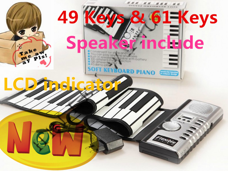 49 Keys LCD Indicator Electronic Piano Keyboard Midi Soft Roll Up Portable Flexible Music Keyboard Children's Day(China (Mainland))