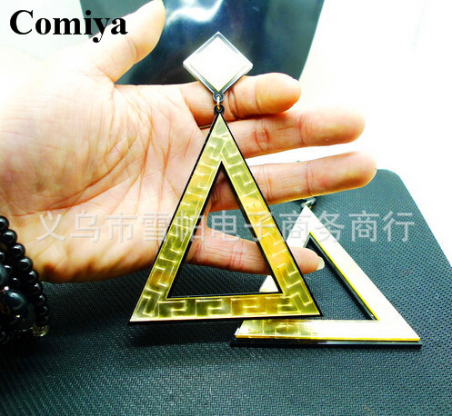 Wholesale Jewelry Bijoux Elegant 10K Gold Plated triangle Drop Earrings Jewelry For Women ladies beauty accessories cute earring(China (Mainland))