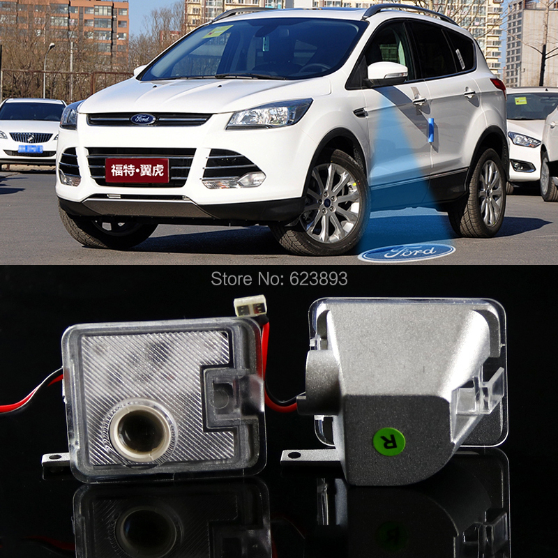 2x Rear Side Mirror Laser LED Door courtesy Shadow Lights For Ford Escape/Kuga 2013-2016(China (Mainland))