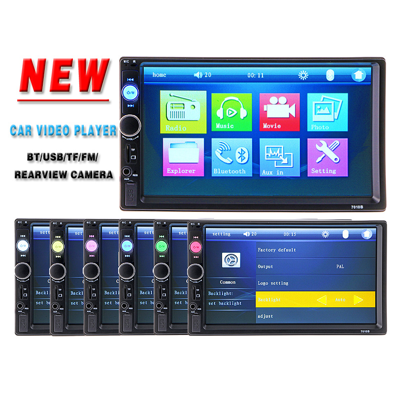 2 Din Car Video Player 7'' HD Touch Screen 1080P Bluetooth Stereo Radio FM/MP3/MP4/MP5/Audio/USB/TF Auto Electronics In Dash(China (Mainland))