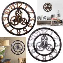Via EMS 23 inch Oversized Handmade 3D Big Gear Wall Clock Vintage Rustic Home Decorative Luxury Clocks - ordernow2016 store