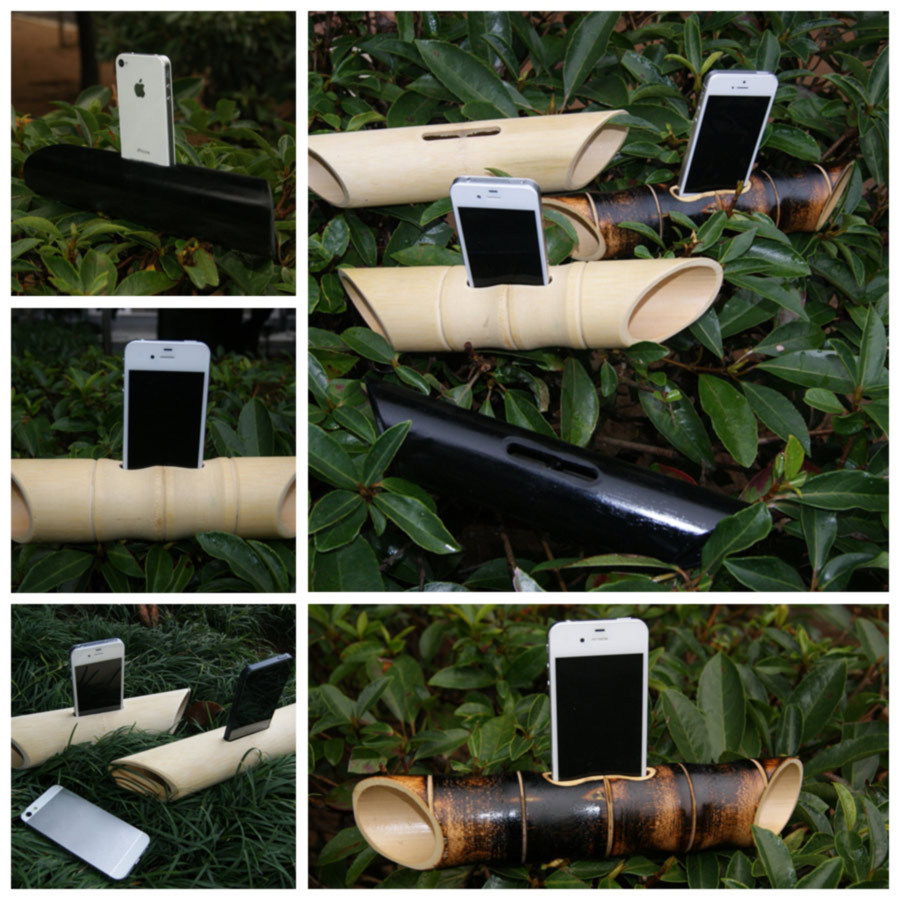 2015 Natural Bamboo Vlume Speaker Amplifiers Stereo Surround Sounds Phone Dock For iphone 4/4s/5/5s Free Shipping(China (Mainland))