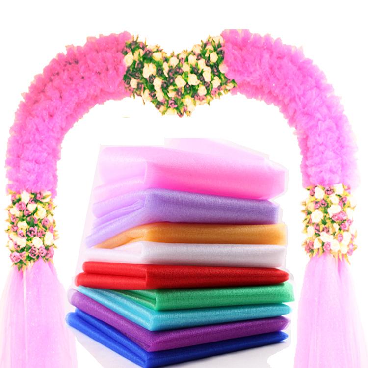 1 Roll 0.40*45 M Sheer Crystal Organza Stof Draperen voor Wedding Organza Stof Stoel Sash Bow Party Decoratie(China (Mainland))