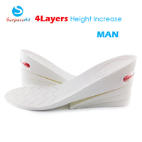 1 Pair White 4 Layers Height Increase Increasing Insole Elevator Taller 8CM UP Air Cushion Shoe Insoles Pad Lifts For Man