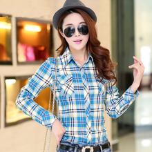 New 2016 Women Slim Plaid Blouse High Quality Long Sleeve Cotton Women Shirts With Pockets Blusas Femininas Hot Selling