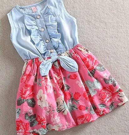 Dress Sweety Kids Girls Denim Sleeveless Floral Pattern Ruffled Sundress 2-6Years Free&drop Shipping(China (Mainland))
