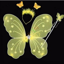 Yellow Butterfly Wings Wand Headband 3pcs/set Lovely Party Costume Fancy Dance Accessory(China (Mainland))