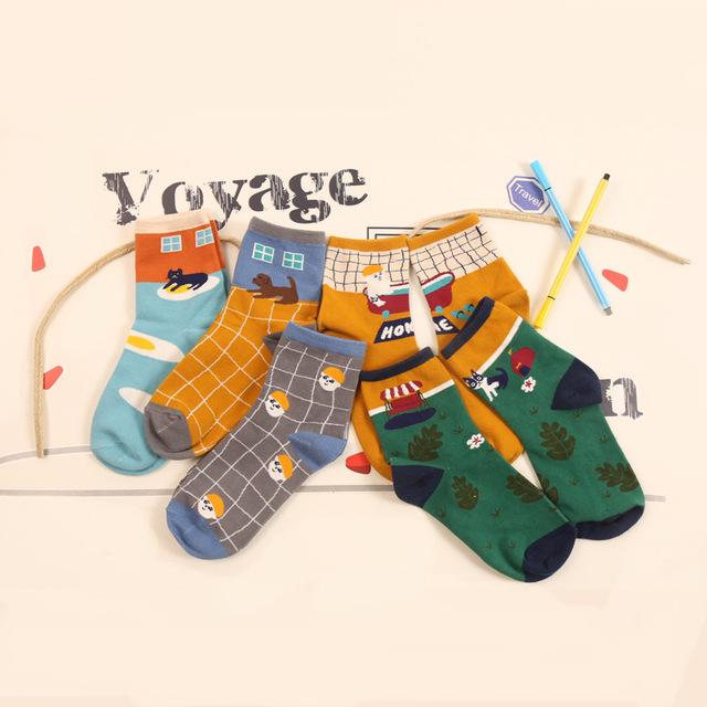 Корейский новинка иллюстрации домашнего интерьера серии трубка носок собаки яйцо мультфильм носки смешные хлопчатобумажные носки