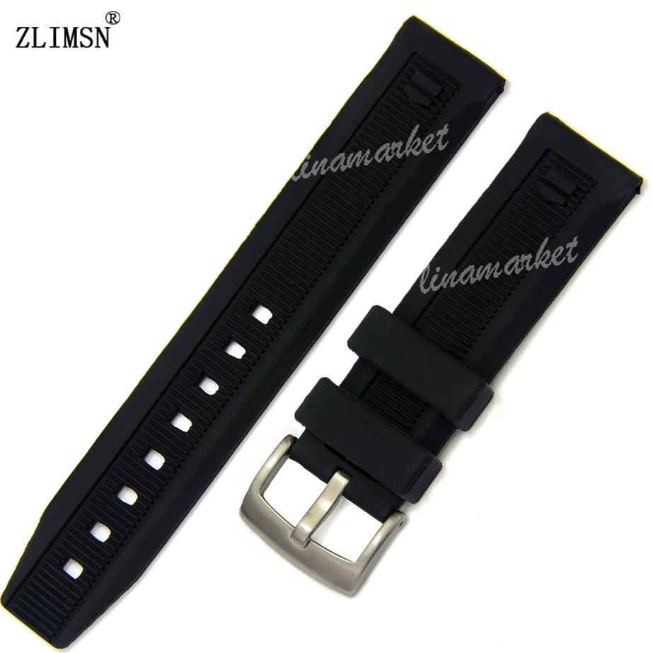 20mm Men Black Strap Band Watchband Soft Silicone Rubber Watch BAND Strap Silver Black Buckle Watchbands Relojes Hombre 2016(China (Mainland))