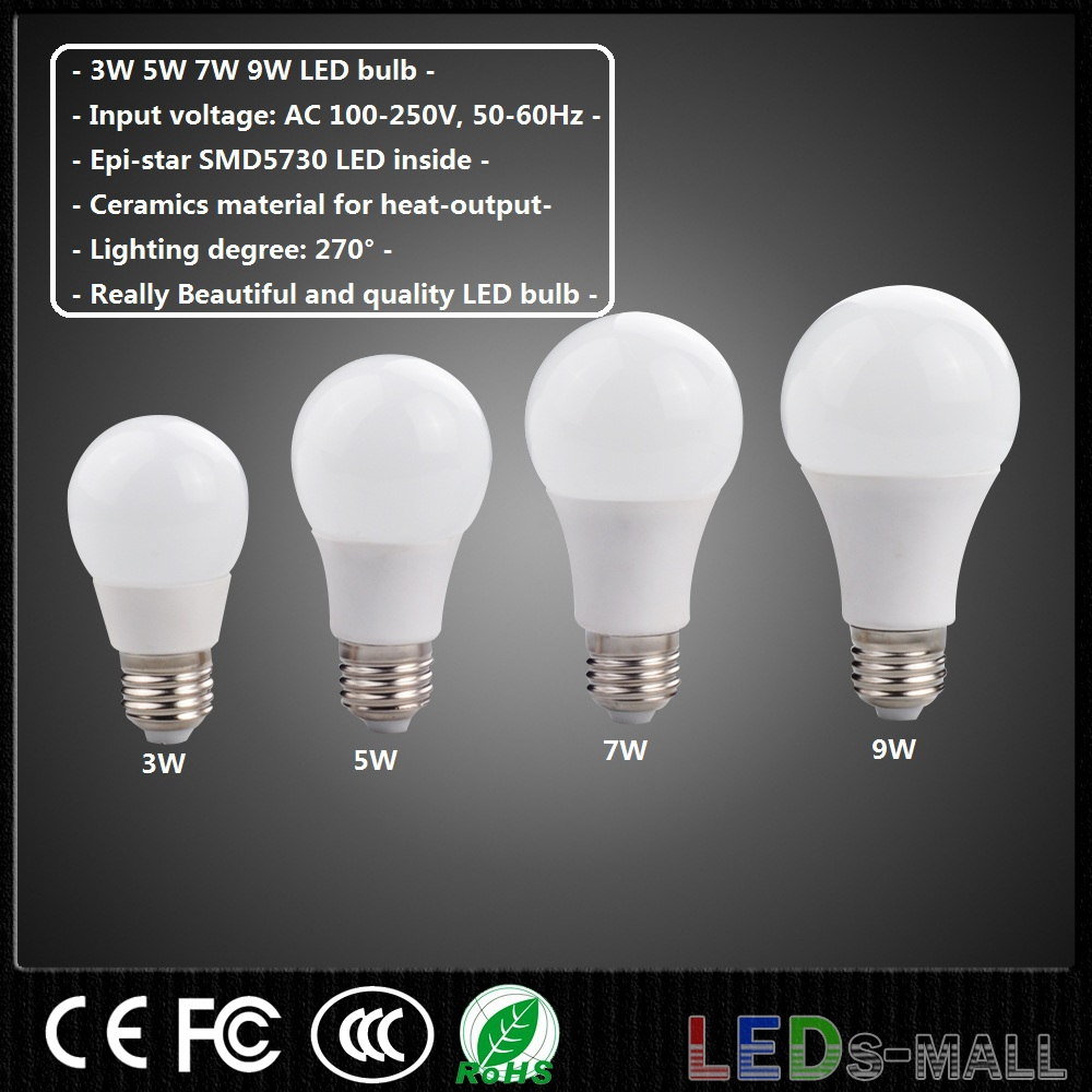 10pcs 3W 5W 7W 9W LED bulb light,E27 Base, Ceramics for Cooling! AC:100-250V, Lighting degree: 270 , Color: White or Warm white.(China (Mainland))