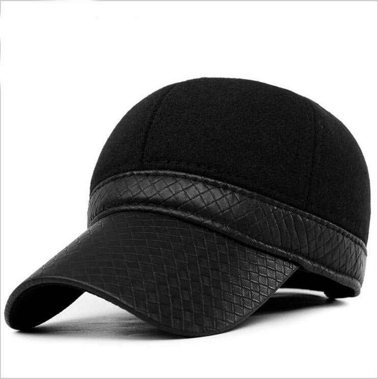 2015 new hat men's boutique solid winter cap factory wholesale ear warm fashion baseball cap father gift(China (Mainland))