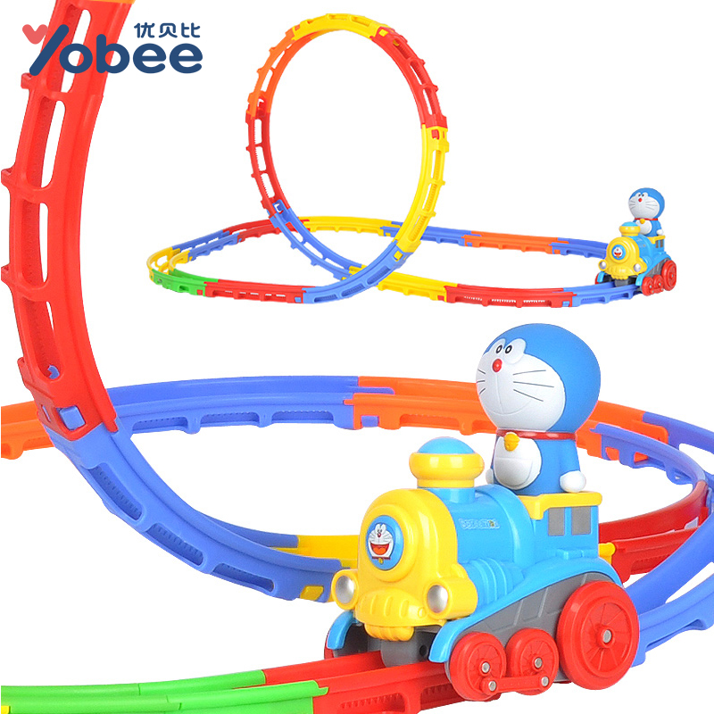 Funtree Real 2017 Toy Doraemon Model Car Hotwheels Music Electric Train Subway Wheel Vehicle 23 Track Diy Railway Kit Kids Gift(China (Mainland))