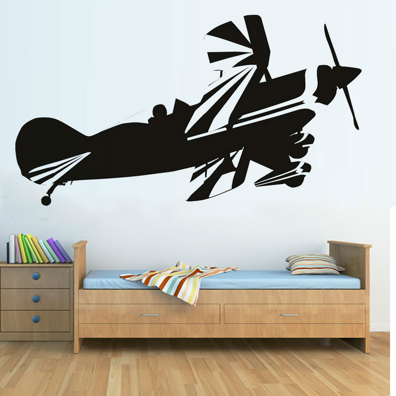 New diy self adhesive biplane wall sticker nursery wall for Airplane decoration