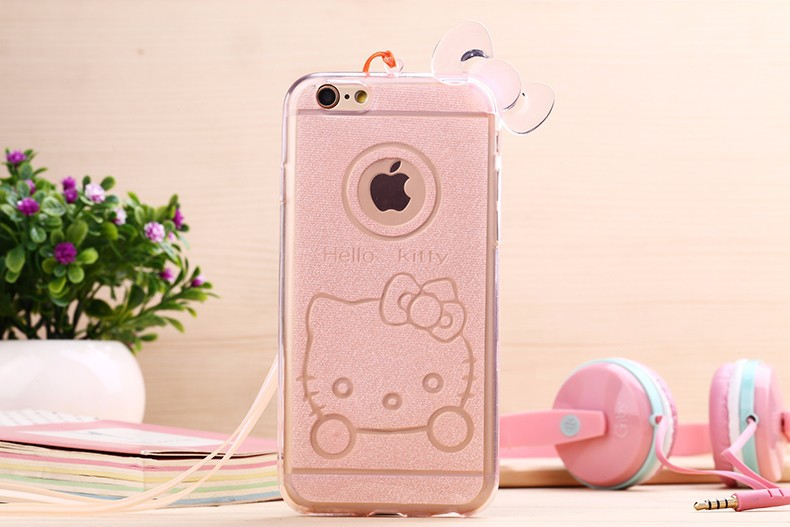 luxury mobile phone case for iphone 5 5s soft tpu couro hello kitty neck strap ultra thin protective pink bowknot new cover i5(China (Mainland))