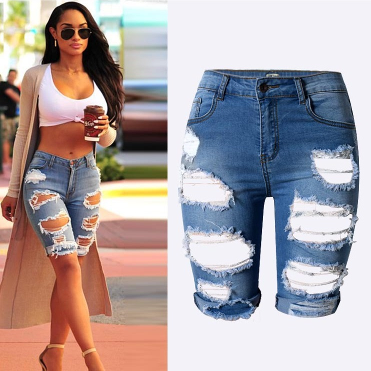 Distressed Jean Shorts Womens - The Else