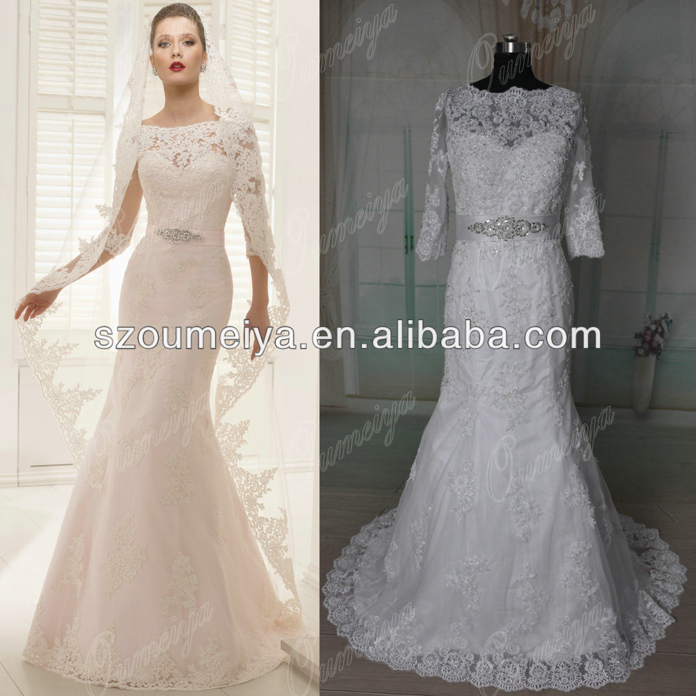 Vintage Wedding Dresses 3 4 Sleeve : Aliexpress buy oumeiya orw vintage lace
