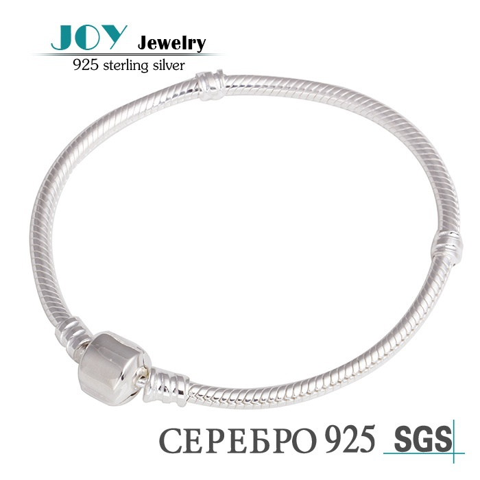 European Style Authentic 925 Sterling Silver Snake Charm Bracelets Silver Clasp Clip Bracelet Suitable for Pandora Bracelet DIY(China (Mainland))