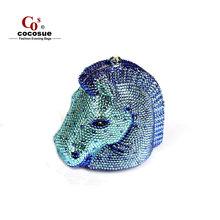 Horse Shape Evening Bags 2015 Fashion Design Luxury Crystal Clutch Evening Bags Women Handbag Animal Shape