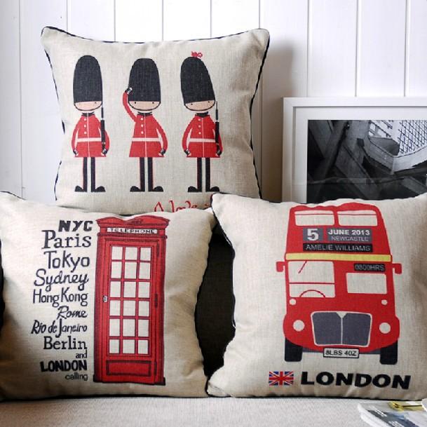 Retro british flag buses london pillow linen cushion for Home accessories london