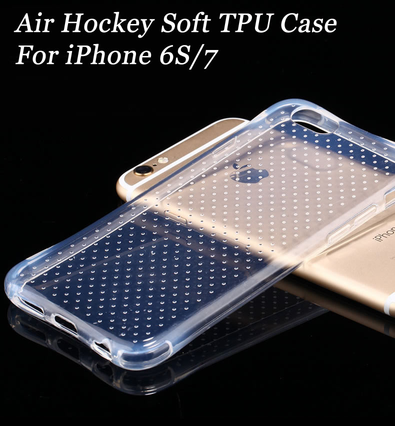 DHL Free Shipping Air hockey TPU Case Transparent Soft Cover Clear Skin Gel Anti-Shock Cover For iPhone 7/6S(China (Mainland))