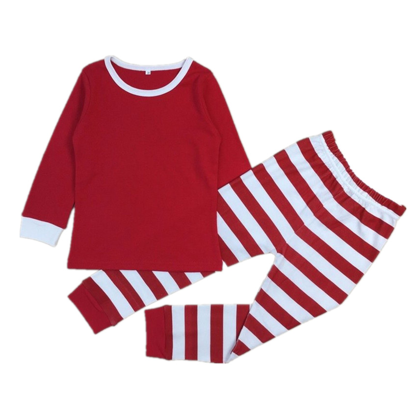 2017 Baby Girls Boys Christmas Pajamas Set Kids Striped Xmas Cotton PJS Children Clothing Set Family Christmas Pajamas 30E
