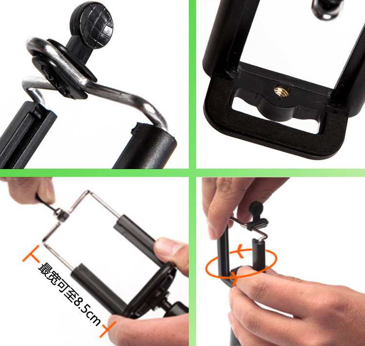 image for Universal Mobile Phone Selfie Stick Handheld Monopod Clip Adapter For