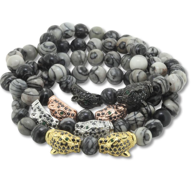 12pcs Good Quality 8mm Semi-prescious Stone Beads Bracelets,Gold Plated Animal Head Bracelets For Women Men Bracelet Fashion<br><br>Aliexpress
