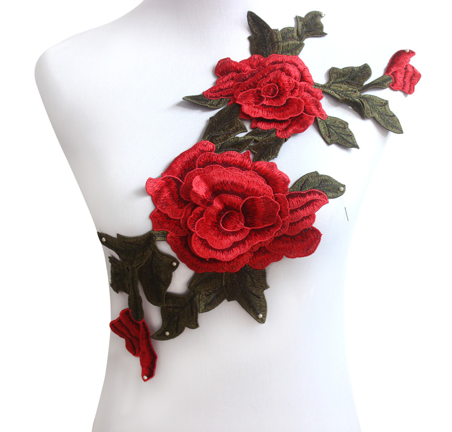 Red Green Rose Floral Trim Venise Applique Motif Embroidered Collar Trimming Sew on Patches(China (Mainland))