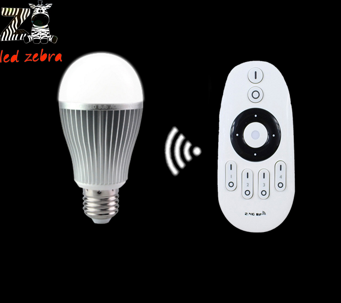 AC85-265v mi.light 2.4G E27 9w led bulb cw ww led lamp,wireless rf remote controller for cw ww led bulb free shipping(China (Mainland))