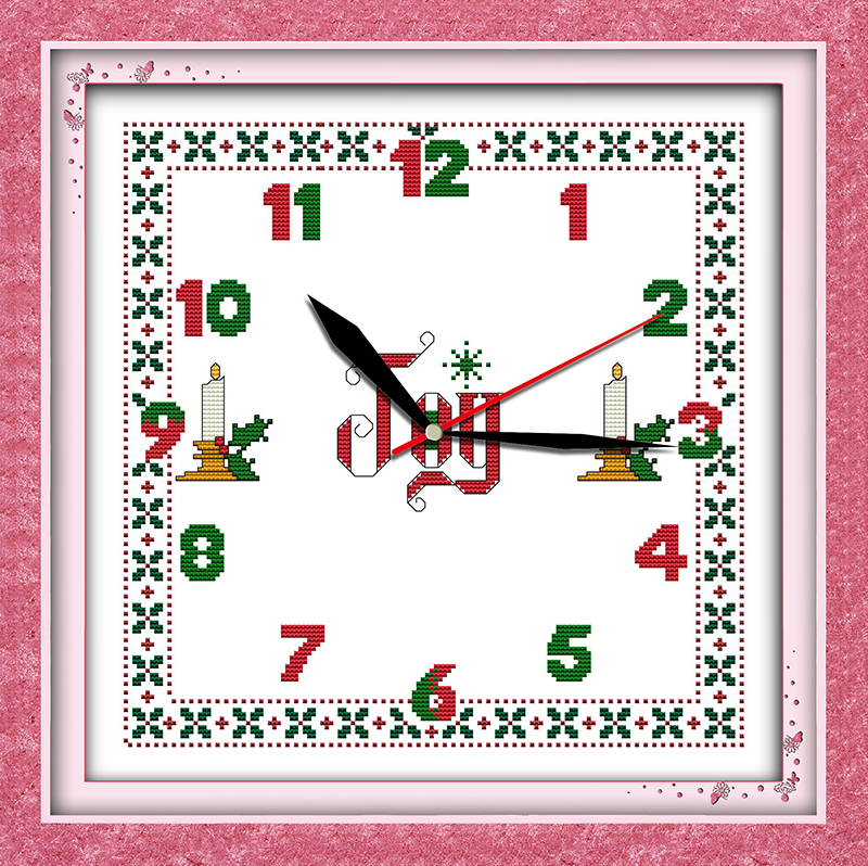 Digital clock cross stitch kit 14ct 11ct count print canvas wall clock stitching embroidery DIY handmade needlework(China (Mainland))