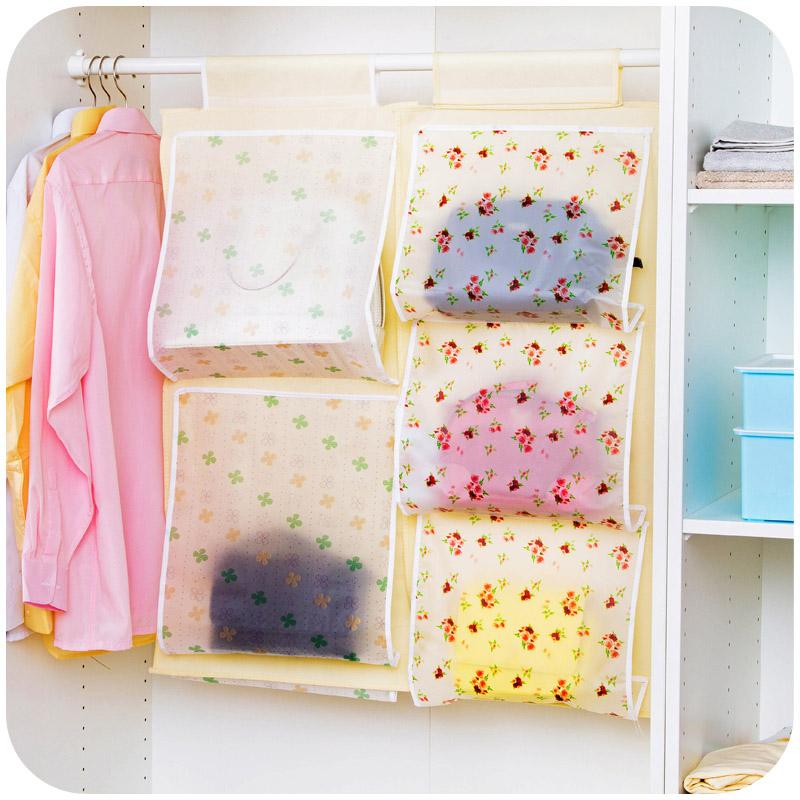 2016 Creative Storage Bag for Handbag Bags Hanging in Wardrobe Clothing Container Folding Organizer Travel Bag Boxes 5 Pockets(China (Mainland))