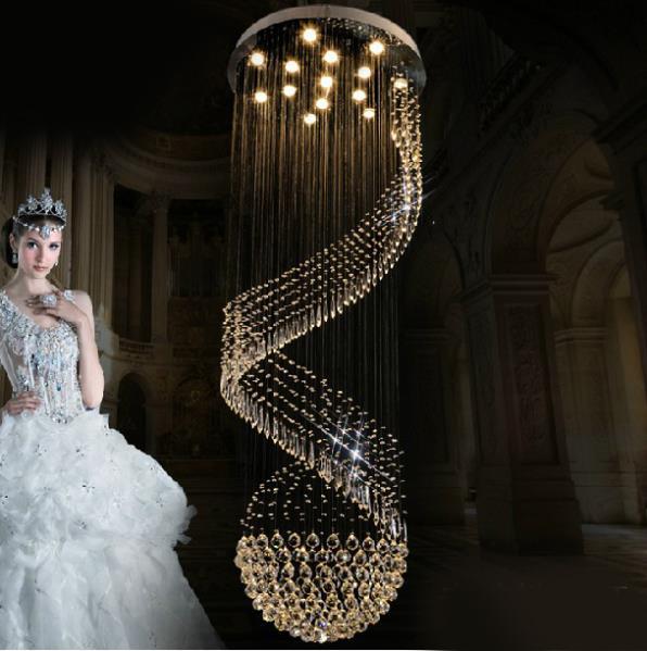 Grátis frete modern luxo grande lustre de cristal luzes Dia80 * H300cm brilho projeto espiral escada iluminação(China (Mainland))