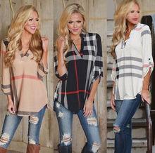Summer Autumn Blouse Shirt Women Long Sleeve Plaid Pattern Print Chiffon Cotton Shirts Tops Female Clothing Tunic Blusas Casual