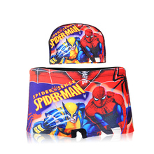 Boys swimwear swim trunks swimming suits bathing minions spidermen boys swim briefs kids swimming cap+swimsuits cartoon trunks
