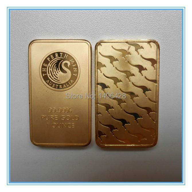 Non Magnetic ! 5pcs/lot 1oz 24k gold plated Australia gold plated bullion bar replica gold bar(China (Mainland))