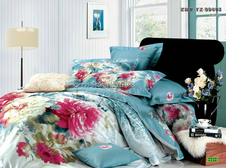 Wholesale,red yellow floral china ink painting blue duvet quilt covers sets 4pcs Full/Queen comforter bedding sets bedlinen(China (Mainland))