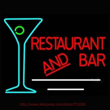 Restaurant and Bar With Martini Neon Sign Neon Bulbs Led Signs Real Glass Tube Handcrafted Recreation Room Iconic Sign 31x24(China (Mainland))