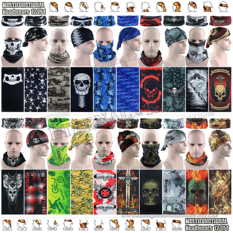 Retail Latest Outdoor Sports Scarves Sunscreen Bicycle Headband Skull Bandanas Scarf Multi Purpose Outdoor Seamless Bandanas(China (Mainland))