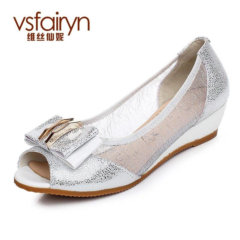Weisixianni sheepskin leather sandals wedges heels shoes fish head hollow mesh shoes 1451