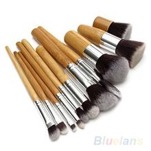 11Pcs Wood Handle Makeup Cosmetic Eyeshadow Foundation Concealer Brush Set brushes 02Q6