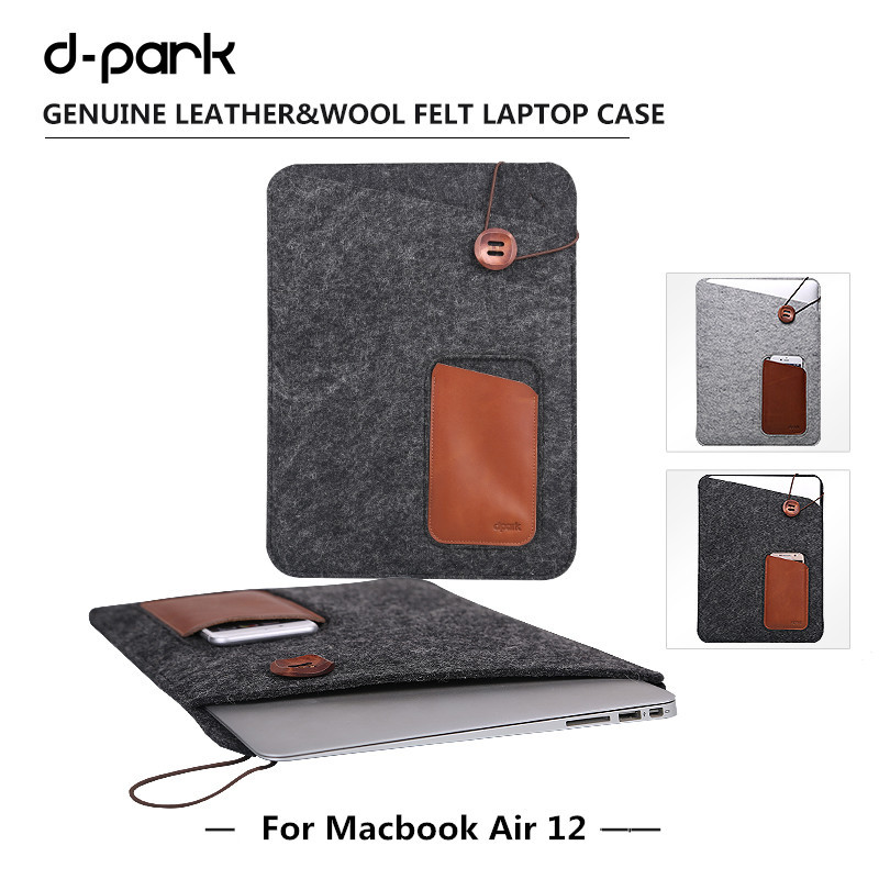 "Dpark Wool Felt&Leather Case Sleeve Pouch laptop Bag For Macbook 12"" with Front Pocket for iPhone 6s & Back Pocket for iPad Air(China (Mainland))"