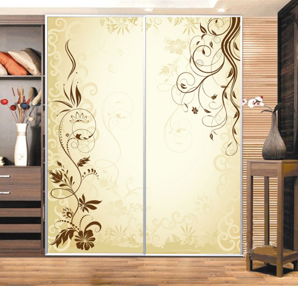 Custom cabinet stickers closet sticker simple golden vine - Stickers pour porte de placard coulissante ...