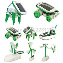 2015 New Solar Power 6 in 1 Toy Kit DIY Educational Robot Car Boat Dog Fan Plane Puppy(China (Mainland))