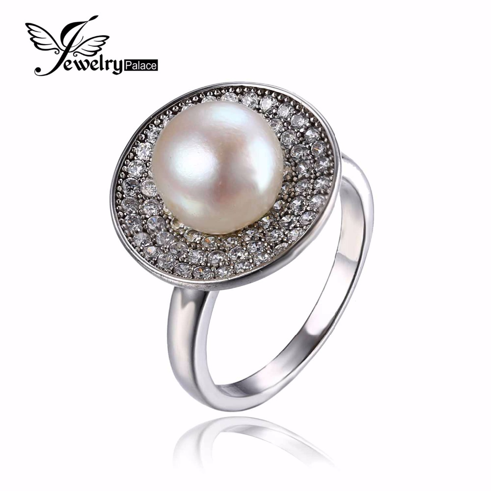 100% Natural Freshwater Pearl Ring Inlay CZ 925 Sterling Silver Classic Wedding Fine Jewelry Ring for Women White Pearl Set(China (Mainland))