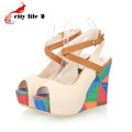 Women Summer Platform Sandals 2016 New High Heels Wedges Shoes Small Size 33 Sweet Peep Toe